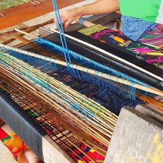 Traditional fabric weaving process from talented artisan in Lombok. View our…