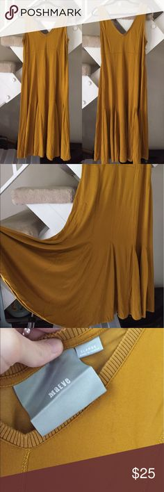 Anthropologie gold mustard jersey dress Has a light stain as pictured. Size XL. Otherwise great condition. Jersey material. Anthropologie Dresses Midi