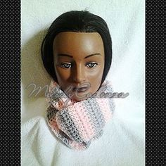 Women's Baby Pink/Light Grey Infinity Scarf www.melodycadenzaclothing.com #Crochet #Handmade #Beanie