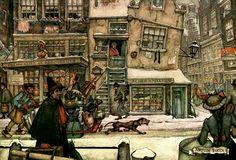 Street Scene - Anton Pieck, Dutch painter, artist and graphic artist.