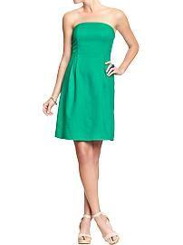 Women's Strapless Linen-Blend Dresses