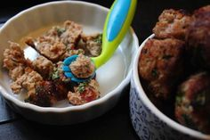 Turkey Meatballs: Now that my 10-month old daughter Elle is eating solid foods, I've been introducing her to a variety of meats. She has four little teeth and she loves to eat chicken and turkey, well-cooked and chopped into small pieces.