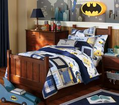 Batman bedding- I usually hate the licensed stuff for kids, but this is classy and I like it.