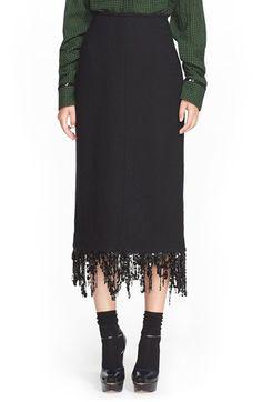 Isa Arfen Slim Wool Skirt with Sequin Fringe