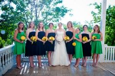 Navy bridesmaids dresses and kelly/apple green junior bridesmaids/flower girl dresses