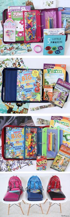 Keep all kid activities in one place with a binder. Here's exactly what I pack for my 3 kids when flying on a plane
