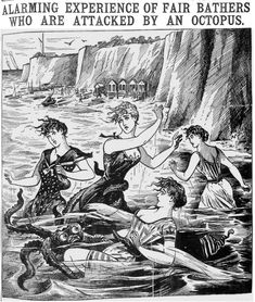 'Alarming experience of fair bathers who are attacked by an octopus' - Illustrated Police News, 17 October 1896 Safari, Police News, Victorian Illustration, Mermaids And Mermen, Weird Stories, Ghost Stories, Sea Monsters, Tentacle, Cthulhu