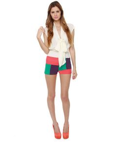 Color Blocked Print Short