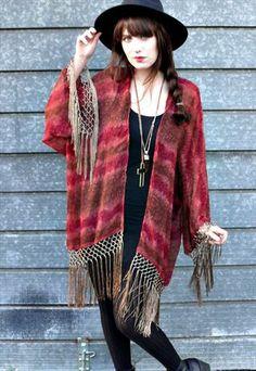 chiffon boho fringe kimono jacket