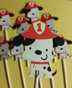 Firehouse Dalmatian Cupcake Toppers, Dalmatian birthday party, fire station, firehouse party, Dalmatian theme, fire station theme, Dalmatian by BellasPerfectParty on Etsy https://www.etsy.com/listing/245228647/firehouse-dalmatian-cupcake-toppers