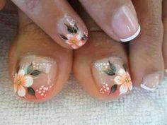Uñas Shellac Nail Art, Pedicure Nails, Pedicure Designs, Toe Nail Designs, French Nail Art, Nail Time, Feet Nails, Toenails, Flower Nail Art