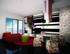 Achieving Best Interior Design Inspiration: Astonishing Interior Design Inspiration With Black And White Horizontal Stripe Also Wall Mounted Shelvings With Colourful Deisgn Cool Red Sofa Mirrored Coffee Table With Flowery Chairs ~ surrealcoding.com Interior Inspiration