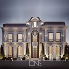 regency architecture style is characterized with refined elegance.The façade is adorned with GRC cladding of European classic details combined with exquisite wrought iron ornamentation which evokes a gentle yet aristocratic impression. Classic House Exterior, Classic House Design, Modern Exterior House Designs, Classic Architecture, Facade Architecture, New Classical Architecture, House Outside Design, House Front Design, Townhouse Exterior