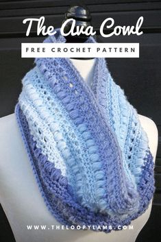 The Ava Cowl - Free Crochet Pattern by The Loopy Lamb One Skein Crochet Pattern One Skein Crochet, Crochet Scarves, Crochet Shawl, Single Crochet, Crochet Clothes, Crochet Hooks, Crochet Dresses, Crochet Patterns For Scarves, Crochet Infinity Scarf Free Pattern