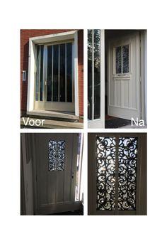 Diy voordeur met hout en verf! Rubberen deurmat als middenstuk, raamfolie en heel erg veel molures.