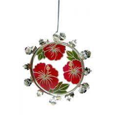 Christmas Wreath Metal Ornament - Hibiscus