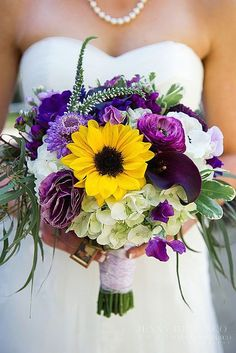 blue purple bridal bouquets with sunflower 4