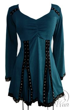 Dare To Wear Gothic Victorian Women's Electra Corset Top Dark Teal - gorgeous color that catches the eye and doesn't go out of style!