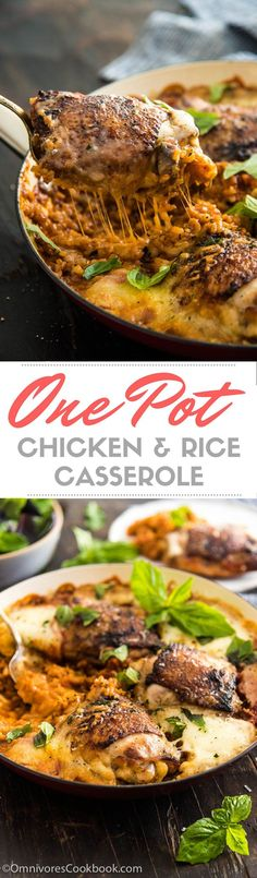 Chicken and Rice Casserole is the ultimate comfort food that both kids and adults love. Learn how to make a healthier and faster version in one pot! Rice Casserole, Chicken Casserole, Casserole Recipes, One Pot Chicken, Yum Yum Chicken, Healthy Chicken Recipes, Real Food Recipes, Savoury Recipes, Cookbook Recipes