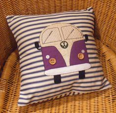 VW campervan pillow cushion cover, purple appliqued felt and hand embroidery on ticking fabric. Camper van. $48.00, via Etsy.