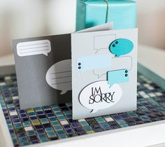 "Cricut Design Space I'm Sorry Card, with word bubbles - made with Cricut Explore, Sometimes we just need to say sorry whether it's our fault or not. At least that's the message I send to my kids. ""Be kind. Change what YOU can change. Be sorry. Then be happy."" This card will help you to do just that!  This project makes one 4 ¼"" x 5 ½"" card with coordinating envelope. Images are from the Cricut® Word Bubbles, Cricut® Card Set with Box, and Cricut® Botanicals digital cartridges.  ❤ Shanon"