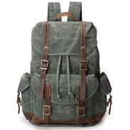 Retro Washing Colors Waterproof Canvas School Bag Leather Belt Large Outdoor Backpack