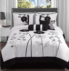 7 Pc White, Black, and Grey, Floral,Leaf Print/ Comforter Set / Bed in a Bag/ Queen Size Bedding By Plush C Collection Queen Comforter Sets, King Comforter, Bedding Sets, Grey Comforter, Chic Bedding, Luxury Bedding, My New Room, Luxury Homes, Comforters