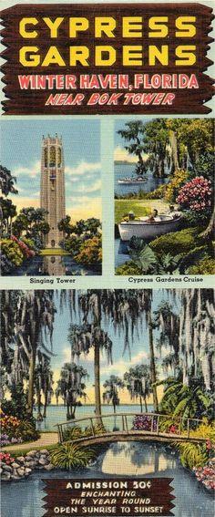 1950's Cypress Gardens Illustrated Advertising Card Winter Park Florida Ephemera