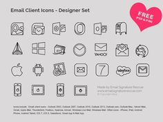 Free Email Client Icons - Included in this awesome email client icon set from Email Signature Rescue are icons for all the major email clients including:   Gmail, Outlook 2003, Outlook 2007, Outlook 2010, Outlook 2013 Icon, Outlook.com, Outlook Mac Icon, Apple Mail, Thunderbird, Yahoo! Mail + more  http://emailsignaturerescue.com/email-client-icons-set
