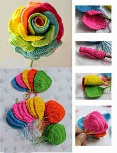 How to Crochet Colorful Rose ?