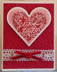 Pink and red heart Valentine card