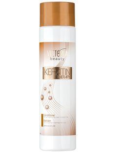 Balsam regenerant cu keratina Keratin Therapy - 300 ml - Keratina este principalul component din structura parului. Produsele cosmetice pentru coafat, cu ingredienti chimici, inlatura aceasta proteina fibroasa din structura firului de par. Tratamentul cu keratina reechilibreaza nivelul acestei proteine pentru a reda parului stralucirea. Victoria Beauty, Keratin, Conditioner, Therapy, Wine, Bottle, Color, Flask, Colour