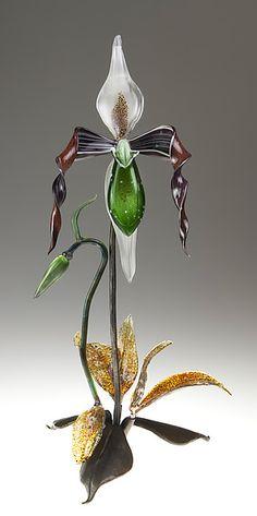 Green Lady Slipper: Loy Allen: Art Glass Sculpture | Artful Home
