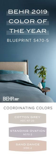 Discover the welcoming, blue tone of Blueprint, the Behr 2019 Color of the Year, in this master bedroom design. Use a pastel color palette that includes Cotton Gray, Standing Ovation, and Sand Dance to create a relaxed and comfortable feeling in your interior design scheme. Click below for more Behr 2019 Color Trends. Living Room Colors, Room Paint Colors, Kitchen Paint Colors, Interior Paint Colors, Wall Colors, House Colors, Gray Interior, Interior Painting, Home Interior Design