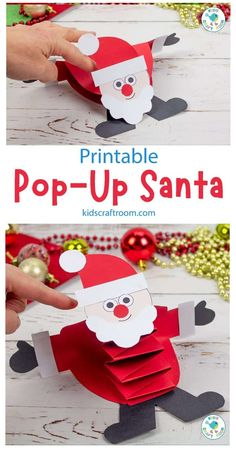 This Pop Up Santa Craft is so much fun and is easy to make with the printable Santa craft template. Gently push Santa Claus down with you finger and watch him pop right back up! A fabulous interactive Christmas craft for kids. (Printable template B/W and colour plus x5 multicultural skin colours.) #kidscraftroom #kidscrafts #santa #santacrafts #christmascrafts #preschoolchristmascrafts Easy Arts And Crafts, Paper Crafts For Kids, Crafts For Kids To Make, Arts And Crafts Projects, Preschool Christmas Crafts, Santa Crafts, Holiday Crafts, Fun Projects For Kids, Toddler Crafts
