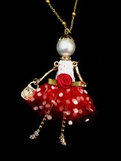 Ellie's Belles: Ruby French doll pendant with red polka dot tulle skirt and red rose embellishment.