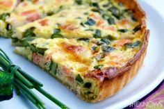 Salmon, asparagus & brie quiche