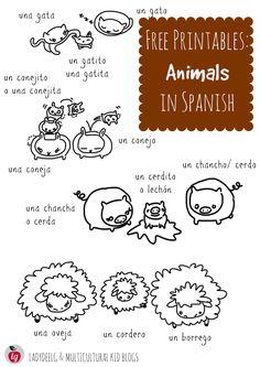 Free printables in Spanish, animals - Animales en español, hojas gratis para imprimir