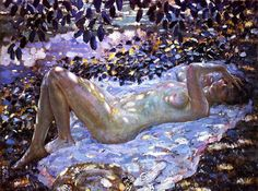 Frederick Frieseke,Nude in Dappled Sunlight,1915