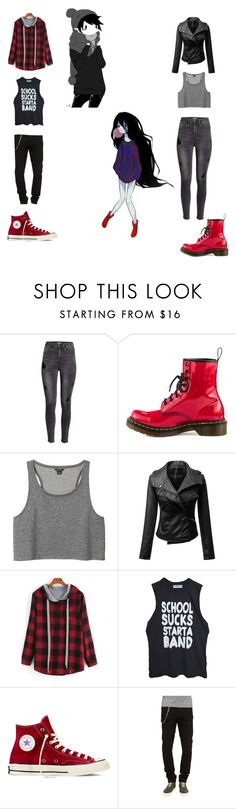 """""""Adventure Time: Marshall Lee and Marceline (genderbend)"""" by stop-being-kawaii ❤ liked on Polyvore featuring H&M, Dr. Martens, Monki, Converse and The Kooples"""