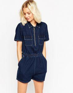 Image 1 - ASOS - Combishort en jean zippée sur le devant