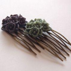 Dark Purple Grey Antique Brass Flower Hair Combs  Wedding Victorian Shabby Chic Regency Simple Chic Tribal Austen. $8.00, via Etsy.