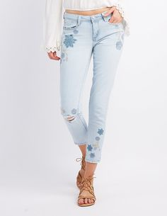 Embroidered Destroyed Skinny Jeans   Charlotte Russe