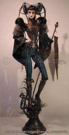 Virginie Ropars - very steam punk like art doll Clay Dolls, Bjd Dolls, Doll Toys, Tatoo Steampunk, Marionette, Barbie, Gothic Dolls, Steampunk Dolls, Paperclay