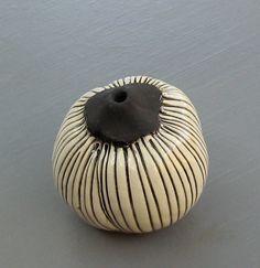 Black and White Striped Ceramic Spore Wall Pod Deborah Krueger