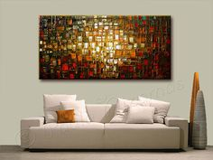 Abstract original painting Autumn Colors Several sizes are available. Please use drop down menu to choose the size of the painting. Made to order. Painted on canvas mounted on wood, edges painted in black - READY TO HANG. Medium: PROFESSIONAL grade oil and acrylic colors. Signed and dated