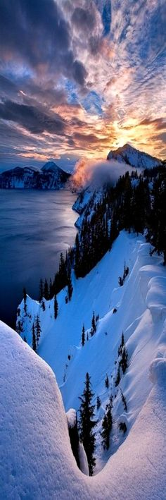 Fire and Ice at Crater Lake National Park, Oregon #Sunsets #BeautifulNature #NaturePhotography #Nature #Photography #Travel #Oregon