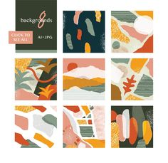 One of my favorite trends lately is abstract collages with big sections of paint, paper or pattern in gorgeous, modern colors. This bundle includes 3 of my most Graphic Pattern, Vector Pattern, Graphic Design, Modern Color Palette, Modern Colors, Design Editorial, Beautiful Collage, Picsart, Story Instagram