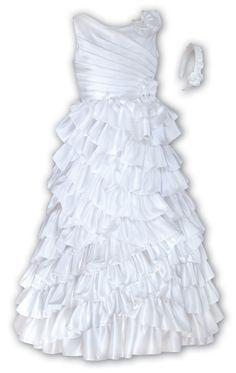 Flower Girl Dresses - Baby and Toddler - Flower Girl Dresses Discount Cheap Designer Dressforless - SL8500 - White Satin Flower Girl Dress Sarah Louise
