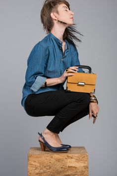 Mustard Leather Bag / Tote Bag / Messenger by EllenRubenBagsShoes, $109.00